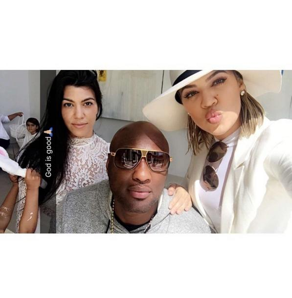 Kourtney Kardashian, Lamar Odom and Khloe Kardashian