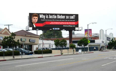 Justin Bieber Featured on Anti-Minimum Wage Increase Billboard