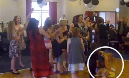 Wedding Guest Leaps for Bouquet, Drops Kid on Floor