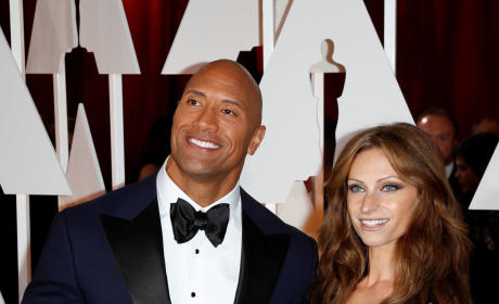 Lauren Hashian and Dwayne Johnson at the Oscars