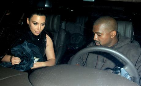 Kim Kardashian and Kanye West attend Kendall Jenner's Birthday Party