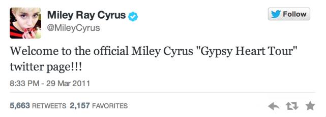 Miley's First Tweet