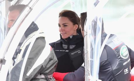 Kate Middleton Sails On a Land Rover BAR Racing Catamaran