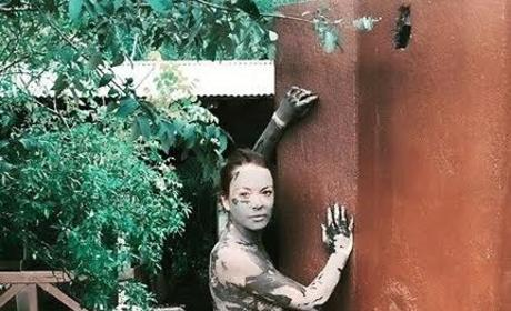Lindsay Lohan: Topless, Covered in Mud on Instagram