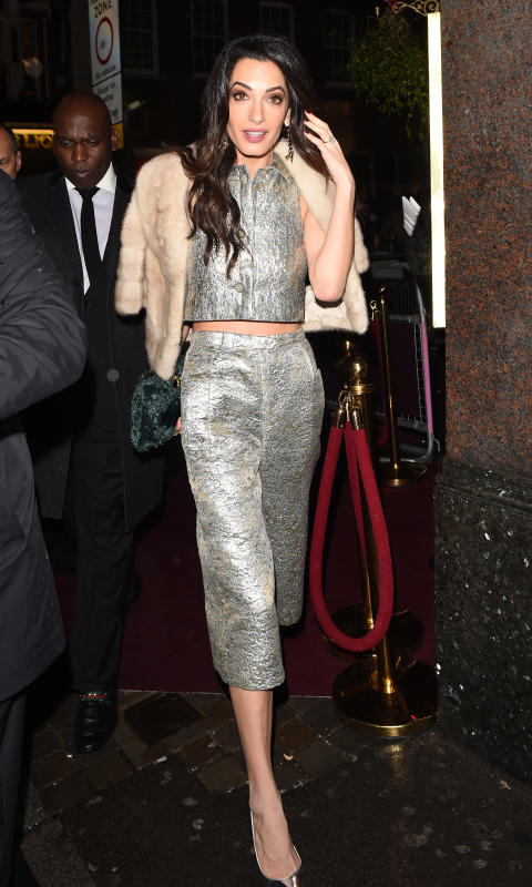 Amal clooney at charlotte tilburys naughty christmas party