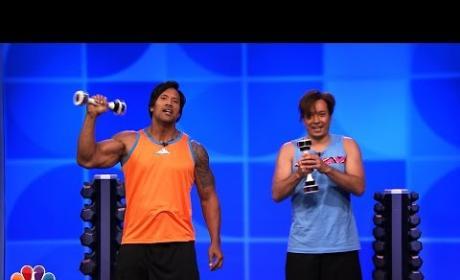 Jimmy Fallon and Dwayne Johnson Workout Video, Part 2