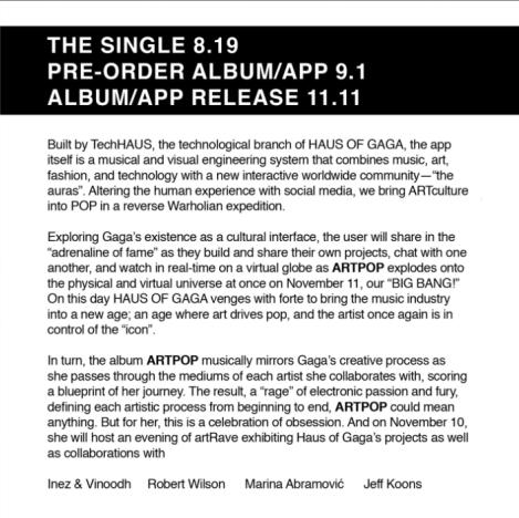 Gaga Album Statement