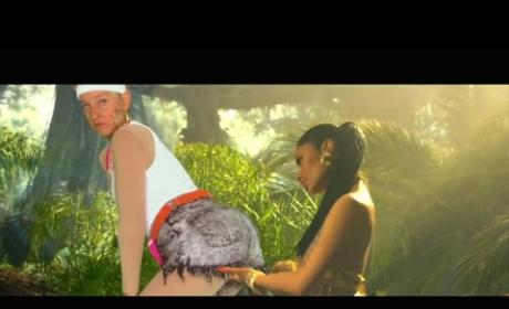 "Ellen DeGeneres Pops Booty, Parodies ""Anaconda"" Music Video"