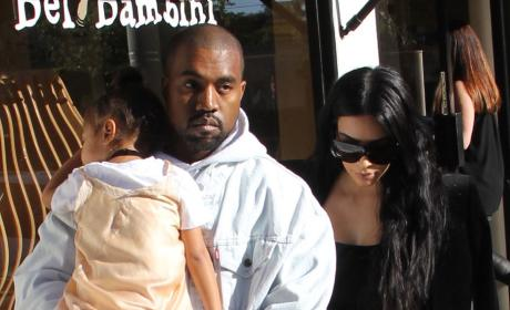 Kim Kardashian, Kanye West and daughter North