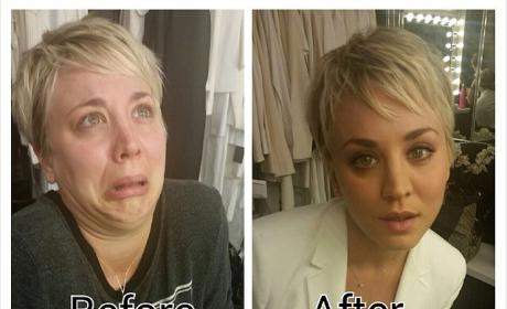 Kaley Cuoco: Makeup Before and After