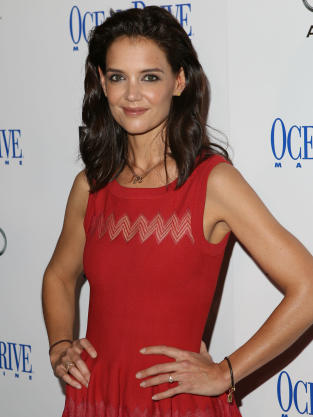 Katie Holmes red dress with diamond ring