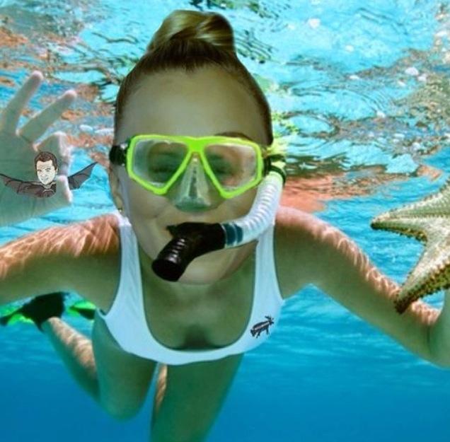 Kaley Cuoco Snorkeling