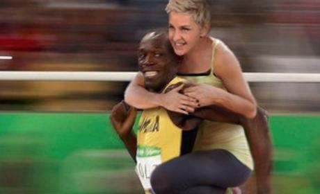 Ellen and Usain Bolt