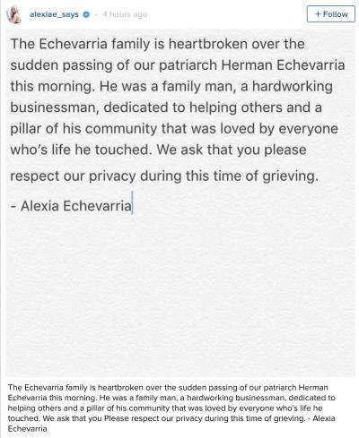 Alexia Echevierra Instagram Statement on Herman's Death
