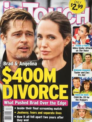 Angelina Jolie Brad Pitt Divorce Tabloid 9.16