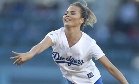 Chrissy Teigen Throws First Pitch