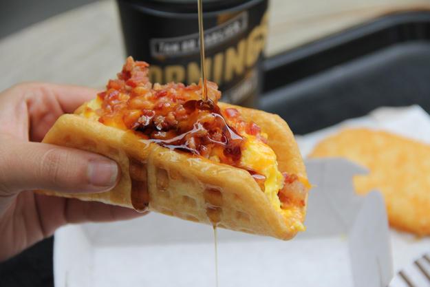 Waffle Taco with Bacon