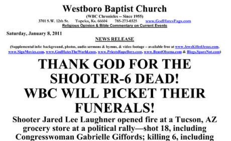 Westboro Baptist Church to Picket Funeral of Arizona Shooting Victims