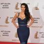 Kim Kardashian Navy Floor Length Dress Golden Nymph Awards