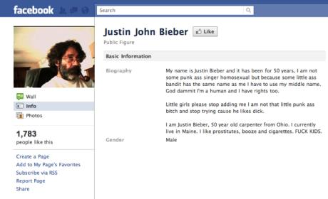 Justin John Bieber on Facebook: Eff Kids!
