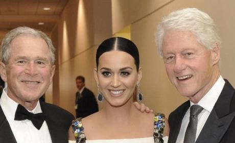 Katy Perry Poses with Presidents, Contemplates Oval Office Run
