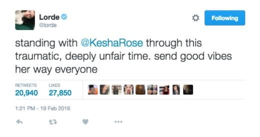 Lorde tweets support to Kesha