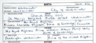 Royal Baby Birth Certificate