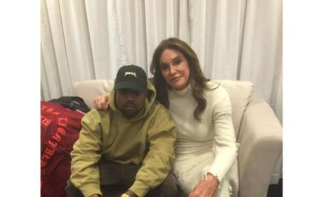 Kanye West and Caitlyn Jenner backstage at the Yeezy Season 3 show