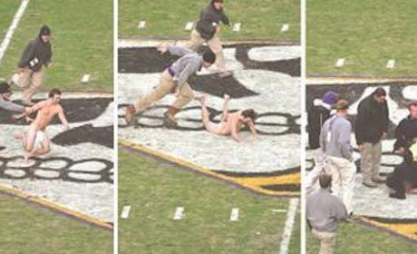 Kid Goes Streaking at Football Game, Injures Junk
