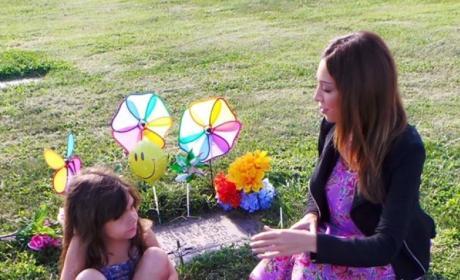 Farrah and Sophia Visit Derek's Grave