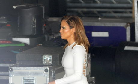 Jennifer Lopez Films 'American Idol' In a Tight White Dress