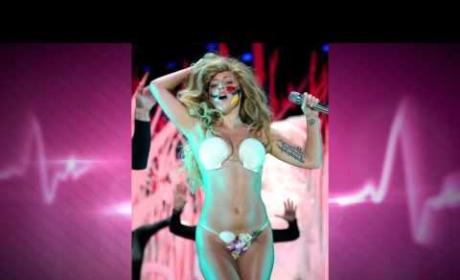 Lady Gaga Wears Mustache, Shows Boob and Vulva in Candy