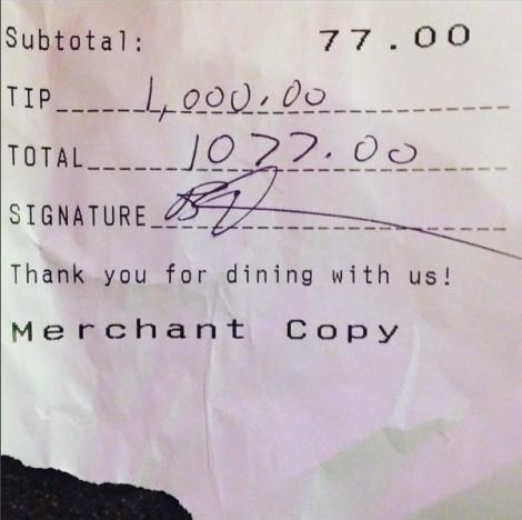 Amy Schumer $1,000 tip to Hamilton bartenders