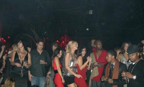 Kourtney Kardashian, Paris Hilton and Kim Kardashian at Tao Las Vegas in 2006