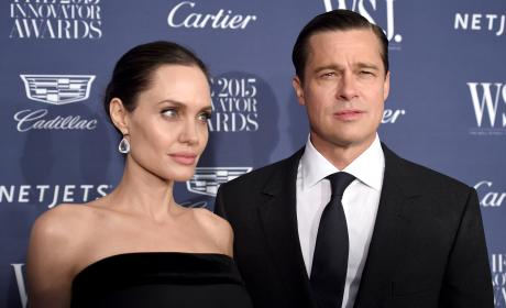 Angelina Jolie Pitt and Brad Pitt Pose Innovator Awards