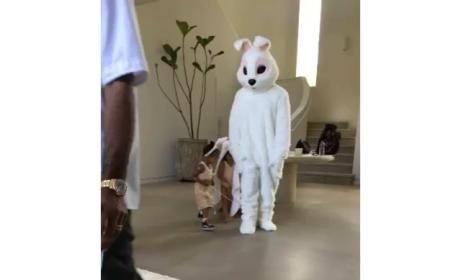 North West and Penelope Disick have fun with Easter Bunny Kanye West