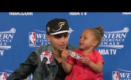 Riley Curry Makes Second Press Conference Appearance, Sings Drake