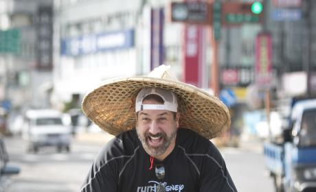 Joey Fatone Bikes On The Street in Taiwan