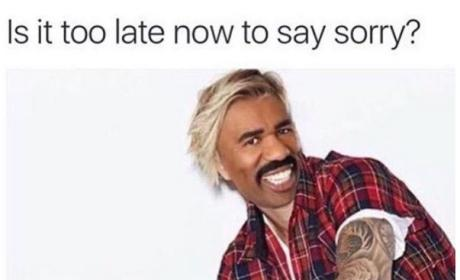 "Justin Bieber Mocks Steve Harvey Gaffe with ""Sorry"" Meme"