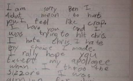Brother Apologizes for Throwing Scissors at Wrong Brother, Really Hates Intended Target