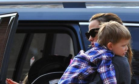 Jennifer Garner Carries Her Son To Their Car