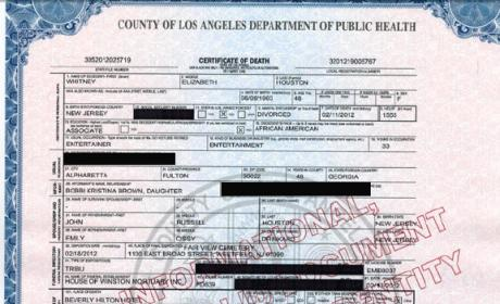 Whitney Houston Death Certificate Released, Uninformative