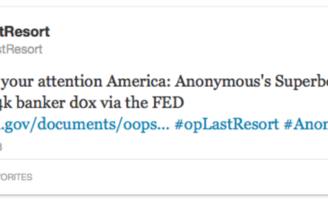 """Anonymous Hacks Bank Execs' Info; """"Operation Last Resort"""" Anchored By Aaron Swartz Tragedy"""