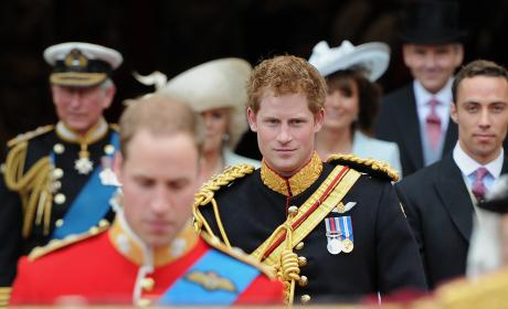 Prince Harry Leaves Westminster Abbey After The Royal Wedding