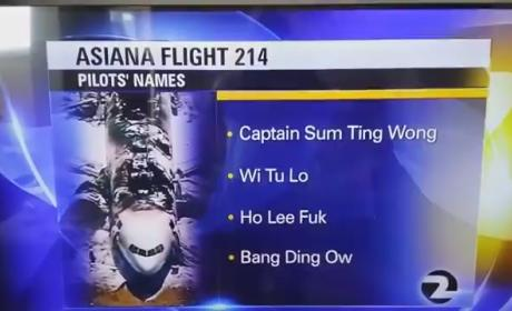 Asiana Plane Crash: Offensively Wrong List of Pilots Read on Air After Intern Pranks TV Station