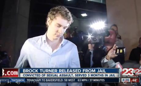 Brock Turner Released from Prison, Surrounded by Media