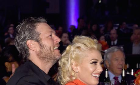 Blake Shelton Holds Gwen Stefani at The 2016 Pre-GRAMMY Gala and Salute To Icons