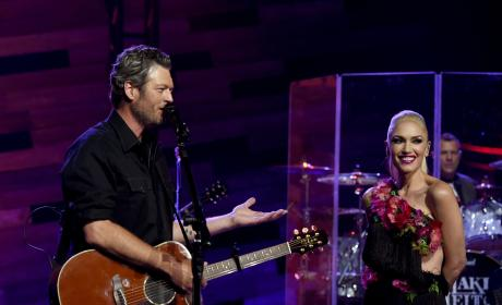 Blake Shelton Smiles At Gwen Stefani During iHeartRadio in Burbank