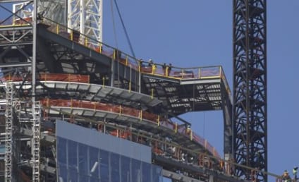 World Trade Center Spire: Hoisted Atop New Building at Ground Zero