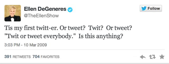 Ellen's First Tweet